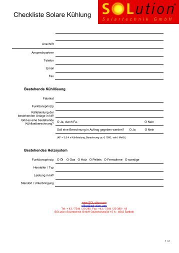 Checkliste Solar Kühlung - Solution Solartechnik GmbH