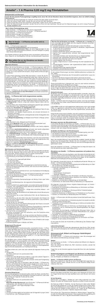 Amelie® - 1 A Pharma 0,03 mg/2 mg Filmtabletten