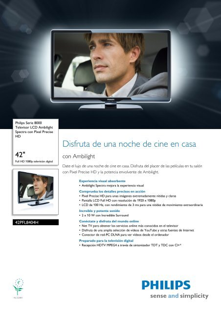 42PFL8404H/12 Philips Televisor LCD Ambilight ... - Supersonido