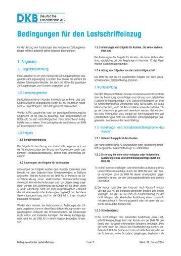 Bedingungen für den Lastschrifteinzug - DKB