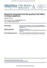 in bilayer graphene Electronic properties and the quantum Hall effect