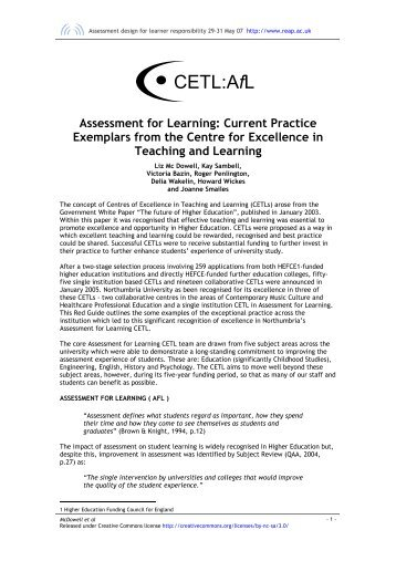 Assessment for learning current practice exemplars from CETL - Reap