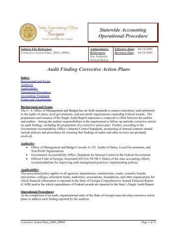 Audit Finding Corrective Action Plans Statewide Accounting ...