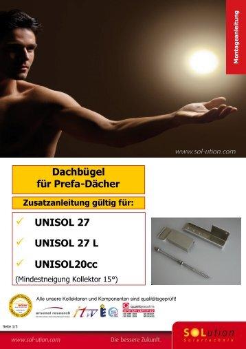 Dachbügel für Prefa-Dächer UNISOL 27 UNISOL 27 L UNISOL20cc
