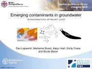 Emerging groundwater contaminants - The UK Groundwater Forum