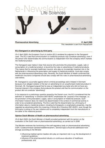 e-Newsletter in mail - Life Sciences - NautaDutilh