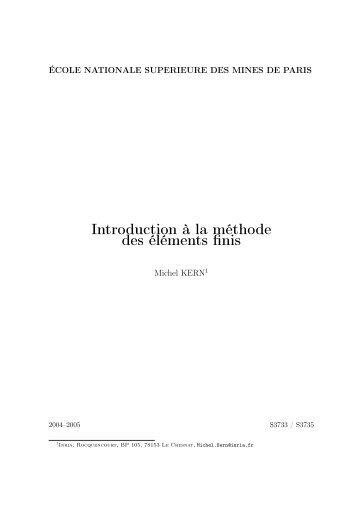 Introduction à la méthode des éléments finis - Mécanique Matériaux ...