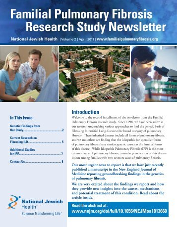 Familial Pulmonary Fibrosis Research Study Newsletter National ...