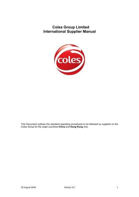 Coles Group Limited International Supplier Manual - Kmart Supplier