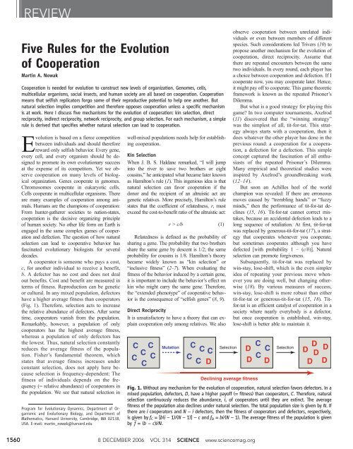 Five rules for the evolution of cooperation - Program for Evolutionary ...