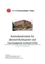 Rutinebeskrivelse for økonomifunksjonen i Farmasøytisk institutt