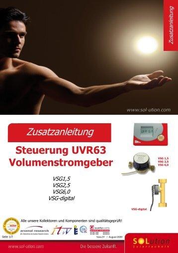 Zusatzanleitung Steuerung UVR63 Volumenstromgeber