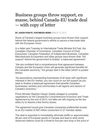 Business groups throw support, en masse, behind Canada-EU trade ...