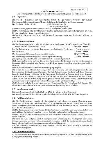 Gebührensatzung Kindergärten - Reinheim