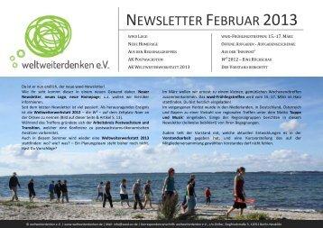 NEWSLETTER FEBRUAR 2013 - weltweiterdenken eV
