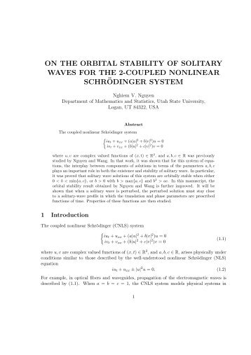 on the orbital stability of solitary waves for the 2-coupled nonlinear ...