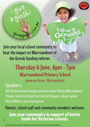 Thursday 6 June,6pm - 7pm - Australian Education Union, Victorian ...