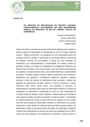 os desafios da implantação do projeto cegonha carioca / módulo ...