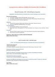 Le programme des conférences de BIMEC (16-19 novembre 2011 à ...