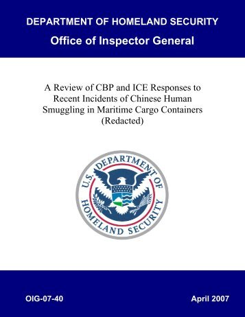 Review of CBP and ICE Responses to Recent Incidents of Chinese ...