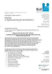 EINLADUNG zur Mitgliederversammlung 2012 BenE MÜNCHEN e.V.