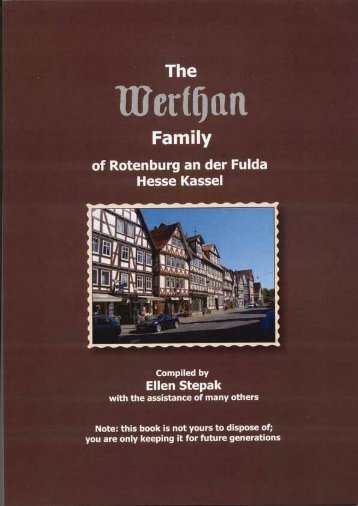 WERTHAN Family Early Generations - Hassia Judaica