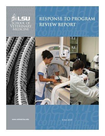 response to program review report - School of Veterinary Medicine