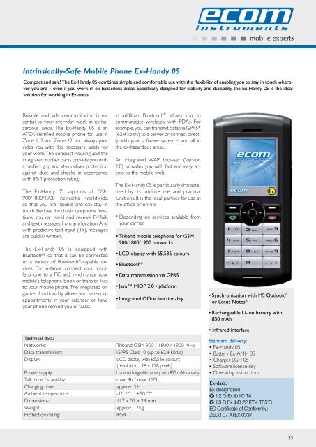 Intrinsically-Safe Mobile Phone Ex-Handy 05 - Atex Proof