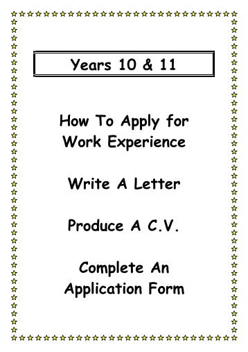 how to write an application form for work experience