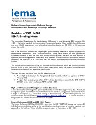 Revision of ISO 14001 IEMA Briefing Note
