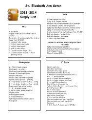 School Supply List - St. Elizabeth Ann Seton Catholic School
