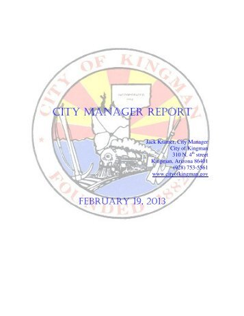 CITY MANAGER REPORT - City of Kingman