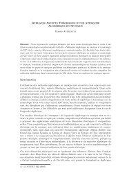 Quelques aspects théoriques d'une approche algébrique en musique