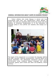 GENERAL INFORMATION ABOUT CAMPS IN EUSKERA PROJECT ...