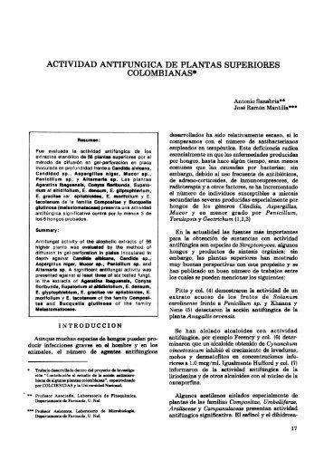 actividad antifungica de plantas superiores colombianas