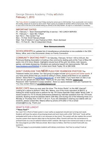 George Stevens Academy: Friday eBulletin February 1, 2013