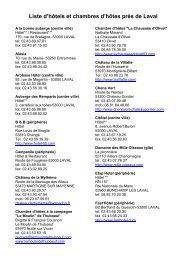 Liste d'hôtels et chambres d'hôtes près de Laval - Laval Virtual