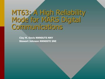 MT63: A High Reliability Mode for MARS Digital Communications