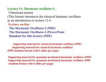 Lecture 11: Harmonic oscillator-I. Vibrational motion (This ... - Cobalt