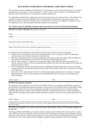 BLACKWELL PUBLISHING COPYRIGHT ASSIGNMENT FORM