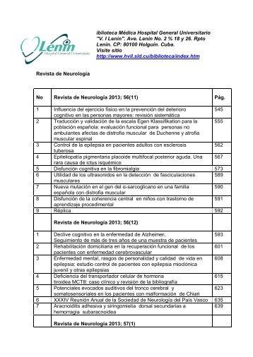 Revista de Neurología 2013; 56(11, 12) 57; 57(1, 2, 3, 4) - (Digital)