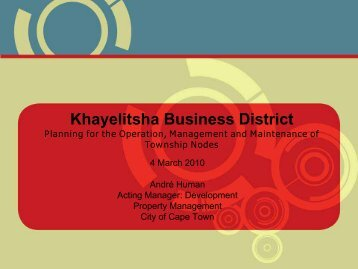 Lessons from Khayelitsha Business District - Andre Human - NDP