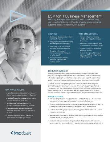 BSM for IT Business Management - BMC Software