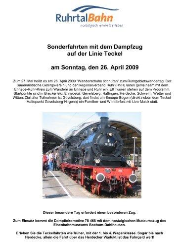 Sonderfahrten mit dem Dampfzug auf der Linie ... - Die Ruhrtalbahn