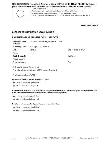 CIG [0326295326] Procedura Aperta, ai sensi dell'art. 55 del D.Lgs ...