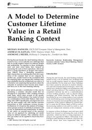 A Model to Determine Customer Lifetime Value in a Retail Banking ...