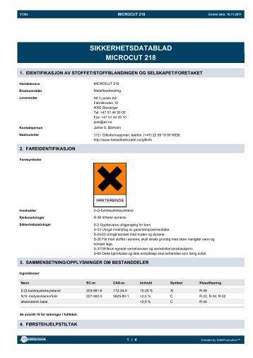 SIKKERHETSDATABLAD MICROCUT 218 - Alf I. Larsen AS