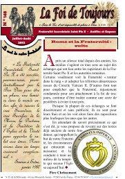 « La Fraternité Sacerdotale Saint- Pie X a été ... - La Porte Latine