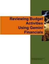 Reviewing Budget Activities Using Gemini Financials