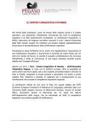 IL CENTRO LINGUISTICO D'ATENEO - Università Telematica Pegaso
